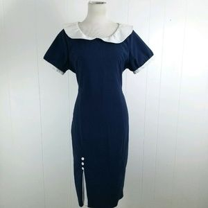 Lindy Bop Vintage 50s Style Navy White Midi Dress